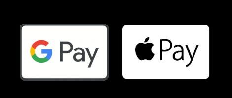 Pago aceptado con Google Pay y Apple Pay