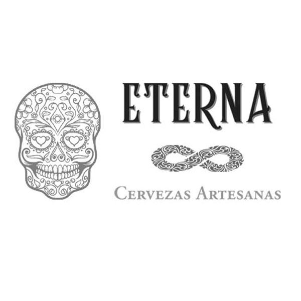 Logotipo de la marca Eterna Cervezas artesanas en el que se ve una calavera de estilo mejicano y un símbolo de infinito entre las letras del nombre